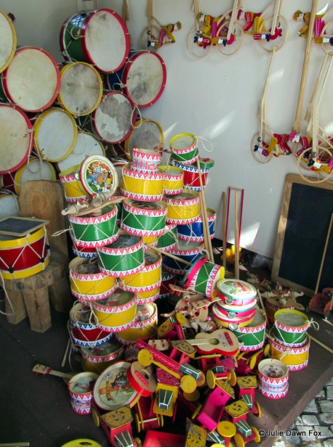 Wooden drums and toys