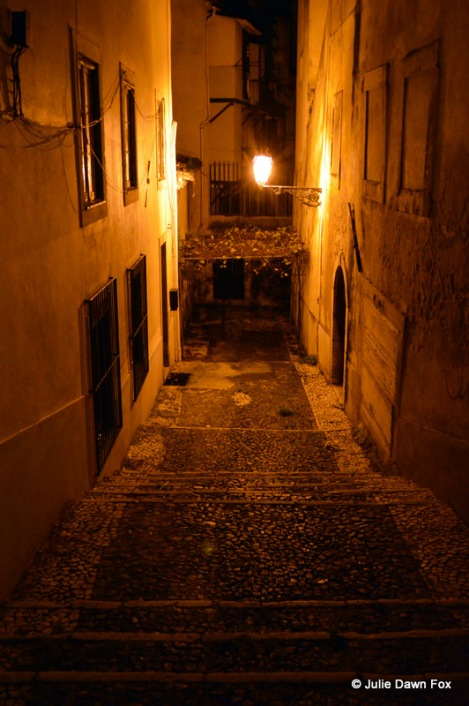 Lisbon street at night